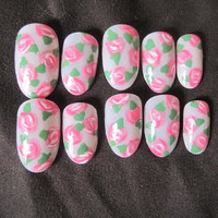 Floral Rose Fake Nails by NailCandyLondon on Etsy