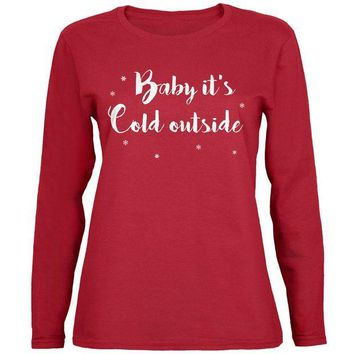 DCCKU3R Christmas Baby it's Cold Outside Script Snowflakes Womens Long Sleeve T Shirt