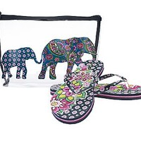Vera Bradley Flip Flops and Clear Beach Cosmetic Pouch — QVC.com