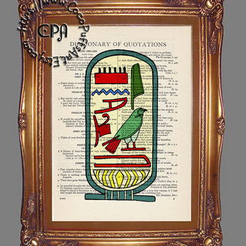 Egyptian Cartouche - Beautifully Upcycled Vintage Dictionary Page Book Art Print