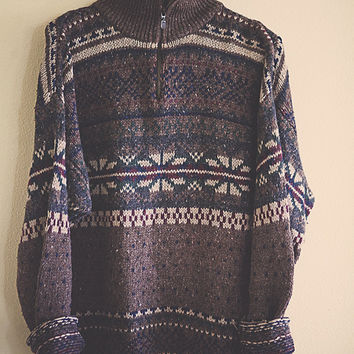 90's Vintage  Cosby Sweater Tan Brown Nordic L Crazy Pattern Long Sleeve Size Large Tall LT  Cozy Slouchy  Comfy Oversize Fieldmaster