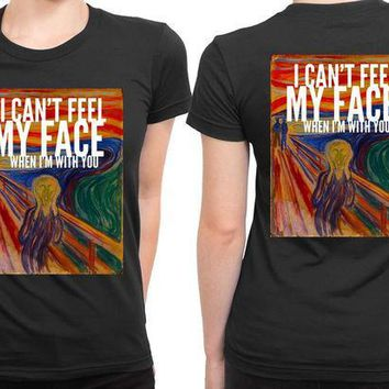 ICIK7H3 The Weeknd I Cant Feel My Face When I Am With You Illustrations 2 Sided Womens T Shirt