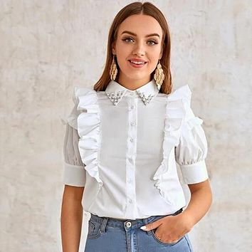 Beaded Collar Buttoned Front Ruffle Trim Blouse