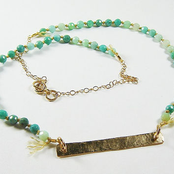 Gold Bar Gemstone Necklace, Moss Opal Necklace, Gold necklace
