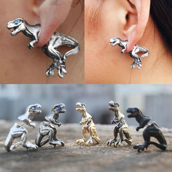 Hot Sale Gold/Sliver/Rose Punk Cool 3D Cuff Earring Stereo Beast Dinosaur Animal Stud Earrings Fashion Jewelry