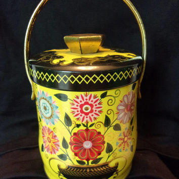 Antique Murray Allen Portland Yellow Tea Biscuit Storage Canister Tin with Handle Flowers  England 1960's