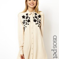 ASOS PETITE Swing Dress With Floral Applique And Embroidery