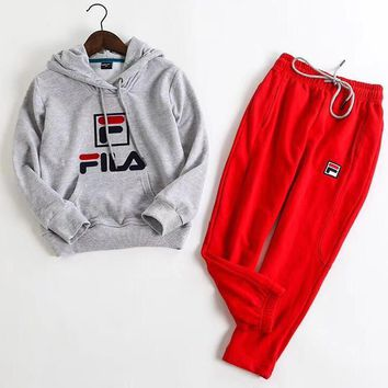 Fila Girls Boys Children Baby Toddler Kids Child Fashion Casual Top Sweater Hoodie Pullover Pants Trousers Set Two-Piece