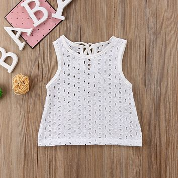 New Cute Infant Newborn Baby Girl Blouse Solid Floral Hallow Out Fashion Casual Tops Kid Toddler Shirt Clothes Blouse Tees