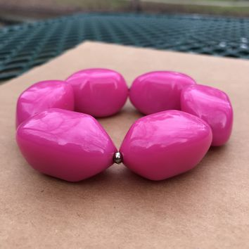Pink Lucite Plastic Pink Beaded Stretch Bracelet