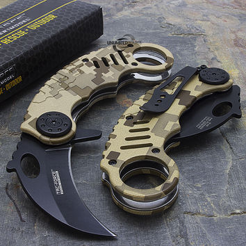 "6"" TAC FORCE KARAMBIT SPRING ASSISTED TACTICAL FOLDING KNIFE Blade Pocket Open"