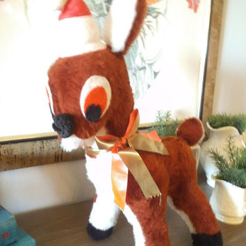 Vintage Rudolph Reindeer ~ Stuffed Christmas Reindeer Toy ~ Retro 50s Deer With Santa Hat