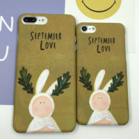 Lovely rabbit plastic Case Cover for Apple iPhone 5s 5 6 Plus 6 -05011