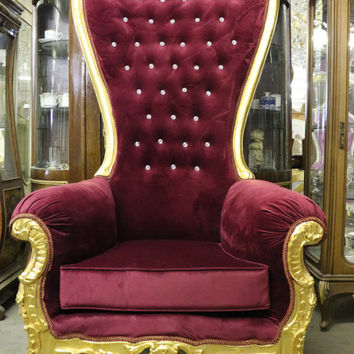"Stunning High Back Burgundy Plush Velvet Party Throne Chair - Solid Carved Wood - Gold Finish - 73"" Tall"
