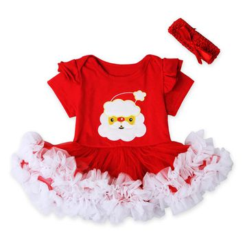 Fashion Baby Christmas Costume Red Cute Baby Girls Romper Infant Kids Tulle Outfits Bowknot Headband Toddler Girls Xmas Sunsuit