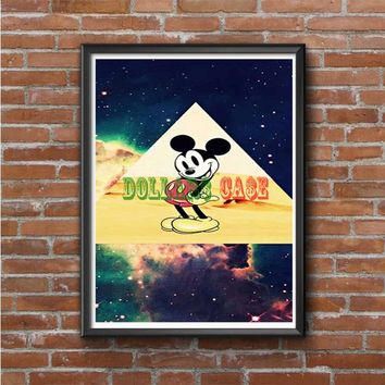 disney Mickey mouse Hipster Triangle Galaxy Photo Poster