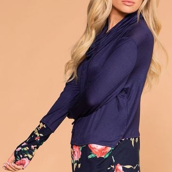 Emmi Navy Floral Drawstring Top
