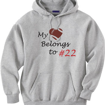 Football mom shirt.  Custom with player's number.  Gray Hoodie.