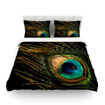 "Alison Coxon ""Peacock Black"" Featherweight Duvet Cover"