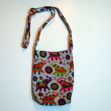 Painted elephants crossbody hip bag. Grey purple Reversible purse, elephants, Crossbody purse, hip purse. Small purse.