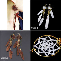 New Fashion Men Women Unisex Dream Catcher Feather Pendant Drop Earrings Long Dangle Earrings