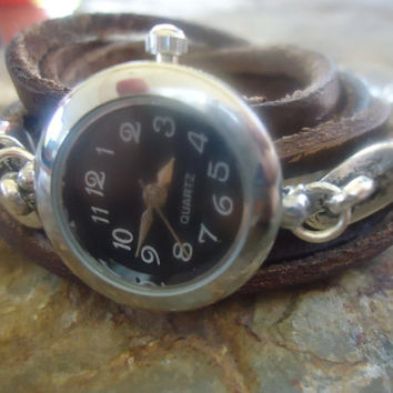 WATCH & BROWN LEATHER wrap clock and Pendant