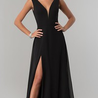 Long V-Neck Chiffon Formal Prom Dress with Side Slit