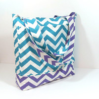 Turquoise Tote Bag, Purple Turquoise, Chevron Tote Bag, Beach Bag, Bridesmaid Tote, Teacher Tote Bag, Canvas Tote Bag, Vacation Tote Bag