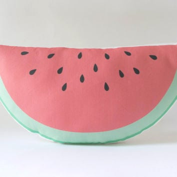 Watermelon Pillow Plush - Watermelon Fruit Slice Cushion - Kids Decor - Fun Food Pillow