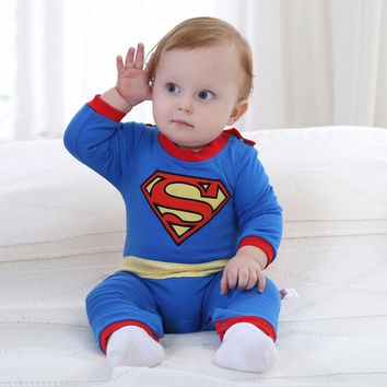 New Born Baby Boy Clothes Superman Style Baby Boy Jumpsuits With Cloak Long Sleeve Autumn Baby Boy Rompers Halloween Kid Costume