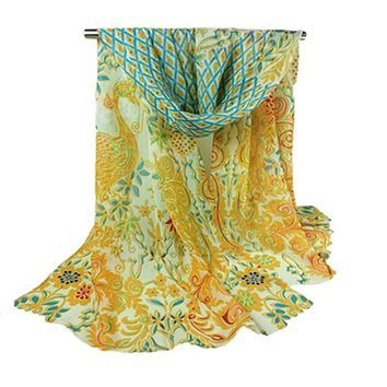 Peacock Printed Long Chiffon Scarf Women Autumn Winter Colorful Wide Scarves 2017 Bohemian Elegant Evening Party Capes Bandana