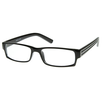 Rectangular Basic Plastic Reading Clear Lens Glasses RX-able Eyewear
