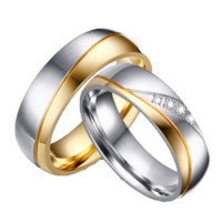 18K Gold Plated Promise Diamond Wedding Ring