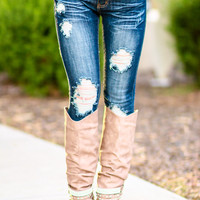 DARK DISTRESSED SKINNY JEANS