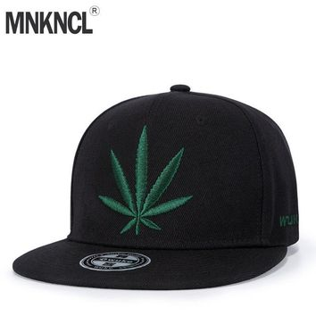 Trendy Winter Jacket MNKNCL High Quality Unisex Cotton Snapback Cap Hemp leaf Embroidery Mens Flat Brim Baseball Cap Fashion Hip Hop Hats AT_92_12