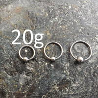 "BUNDLE ! CBR (BCR) Captive Bead Rings 20g (0.8mm) 5/16"" - 3/8"" - 1/2"" (Piercing Jewelry)"