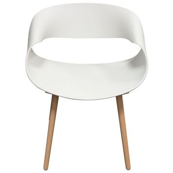 Ribbon 2-Pack Accent Chairs in White Formed Polypropylene (PP) w/ Beech Legs
