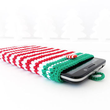 Merry Christmas Xperia Z3 phone case, Red White iPhone 6 pouch, Lumia 830 case, Nexus 5 sleeve, Galaxy S5, Christmas phone cozy, HTC 1 pouch
