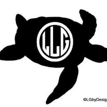 Sea Turtle Monogrammed Decal