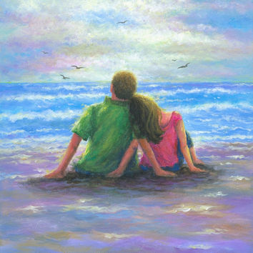 Beach Lovers 12X16 Original Oil Painting, beach paintings, ocean, loving couple, at beach, original beach painting, Vickie Wade paintings