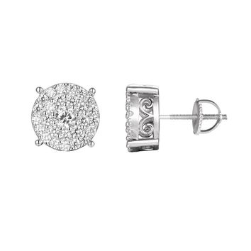 Sterling Silver Solitaire Iced Out Cluster Prong Stud Earrings