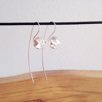 daintyme Sterling Silver Sakura Flower  Long Post Earrings