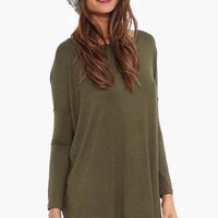 Olive Long Sleeve Tunic - The Hipster