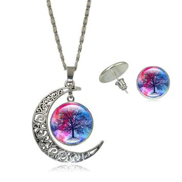 Life Tree Art Picture Pendant Statement Chain Crescent Moon Necklace and Earring Set