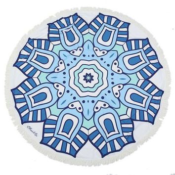 ESB1ON Blue fish Round Mandala Beach Towel Tassel Fringing Beach Throw Round Mat Table Cloth Wall Tapestries Polyester 150x150cm
