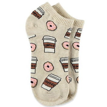 Coffee and Donuts Ankle Socks