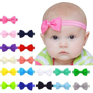 Baby Kids Girls Mini Bowknot Hairband Elastic Headband Bow stretch hair accessories Sweet Children's Elastic Force Headwear