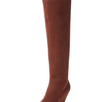 Over The Knee Suede Wedge Boot