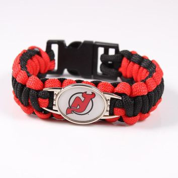 New Jersey Devil Paracord Bracelet NHL Ice Hockey Team Sport Fans Friendship Outdoor C