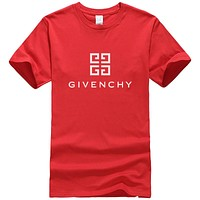 Givenchy Summer New Fashion Bust Letter Pattern Leisure Women Men Top T-Shirt Red